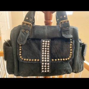100% real leather Suede rhinestones bag!